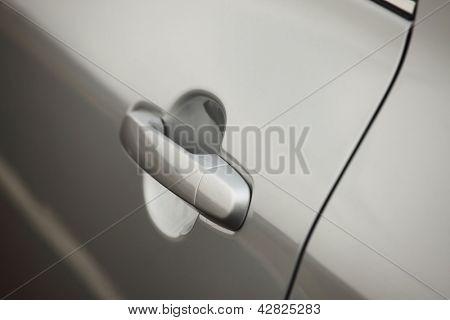 Closeup of a car door handle