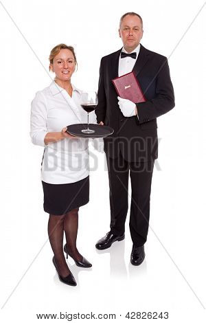 Waitress and Maitre D' isolated on a white background.