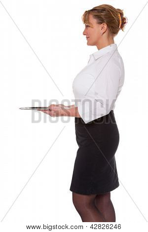 Waitress holding an empty silver tray, isolated on a white background. Good image for product placement.
