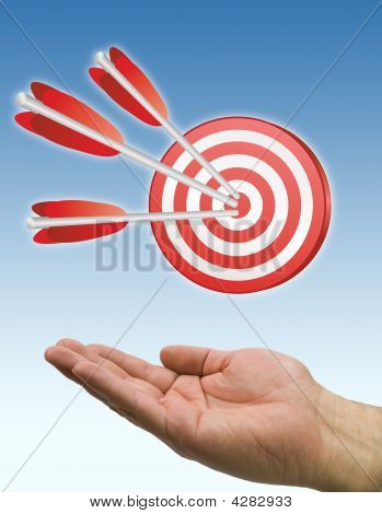 Hand And Arrow Target Blue