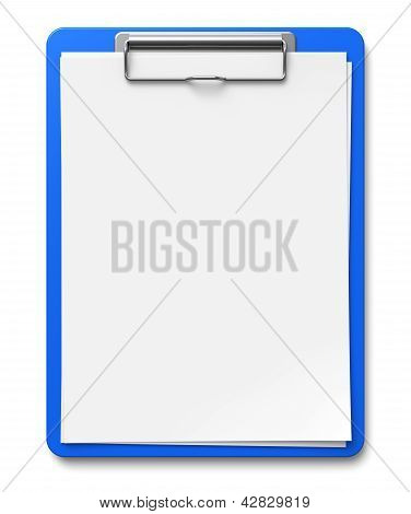 Clipboard with blank sheets of paper