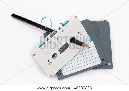 Audio Cassette Tape And Computer Floppy Disks