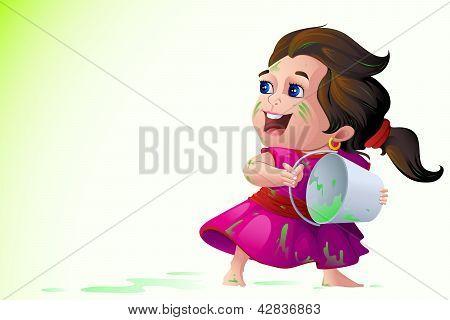 Kids playing Holi Festival