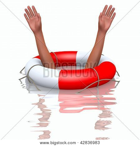 Rescue Buoy And Drowning Hands