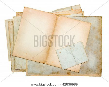 Stack Of Old Paper Sheets And Cards