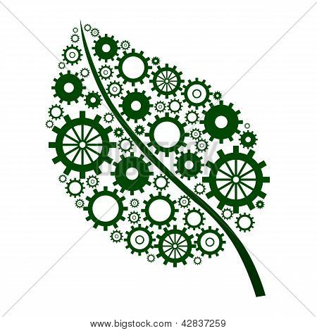 Green Leaf with gears