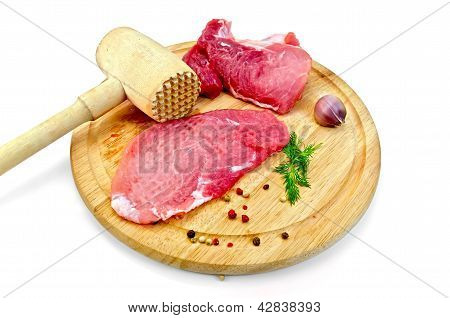 Meat repulsed with wooden mallet