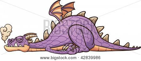 Lazy purple dragon laying down. Vector clip art illustration with simple gradients. All in a single layer.