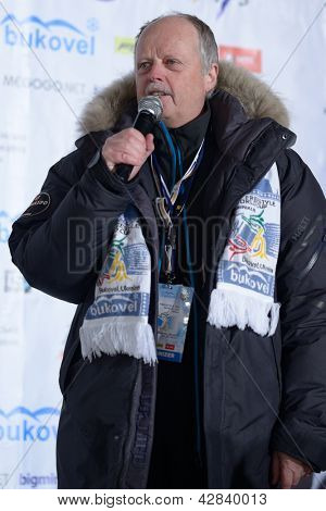 BUKOVEL, UKRAINE - FEBRUARY 23: FIS Race Director Reinhard Krampfl says the final speech during Freestyle Ski World Cup in Bukovel, Ukraine on February 23, 2013.
