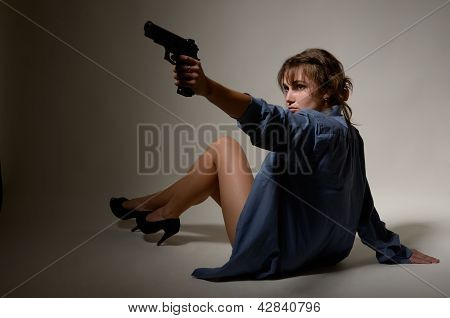 Undressed Girl With A Handgun