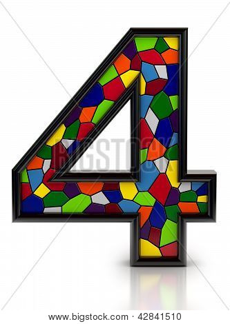 Number 4 symbol with multicolored mosaic tiles, isolated on white background.