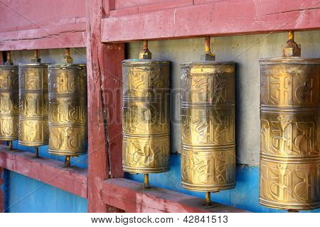Row Of Buddhist Prayer Wheels In Gandan Monastery, Mongolia