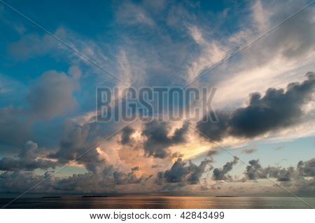 Dramatic Clouds At Dusk Over The Sea