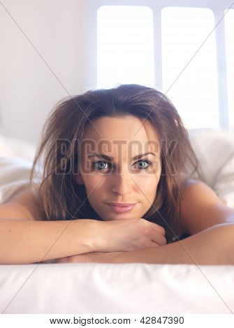 Woman With Messy Bedroom Hair