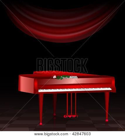 red piano and dark room