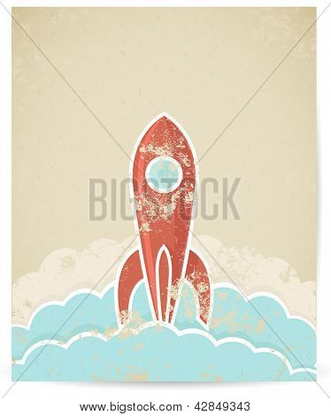 Vector illustration of retro rocket with grunge texture