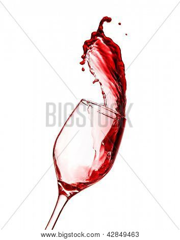 Picture of splash in red wine glass isolated on white background, abstract photo of alcohol beverage, splashing of booze, holiday celebration, cheers, merlot refresh, filled wine-glass, party concept