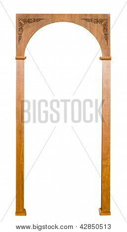Beautiful Carved Brown Wooden Arch Isolated On White