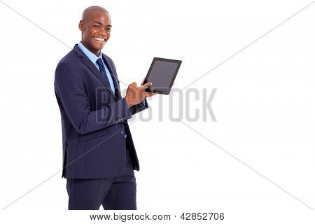african businessman pointing at tablet computer isolated on white