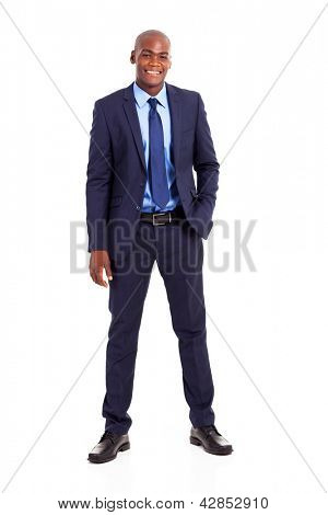 handsome african american businessman in suit isolated on white