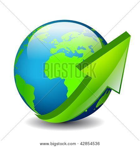 Ao redor do ícone de vetor do mundo