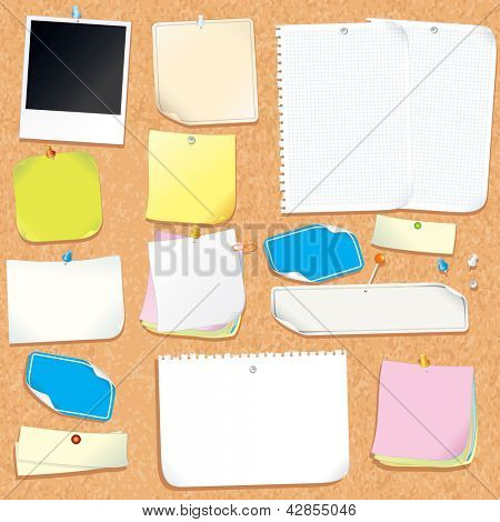 Office Cork Board With Blank Notes and Stickers. Vector Image