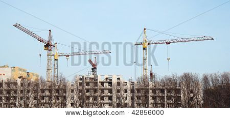 Inside Place For Many Tall Buildings Under Construction And Cranes