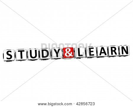 3D Study And Learn Button Click Here Block Text