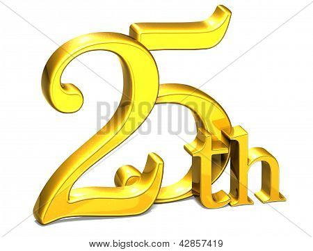 3D Gold Twenty-fifth On White Background