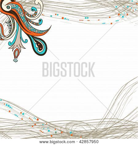 Flower ornament element on striped background