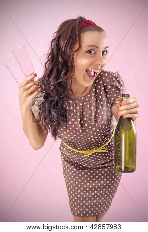 Partygirl With Bottle