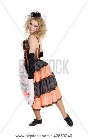 Young beautiful sexy blonde girl dancing the cancan.