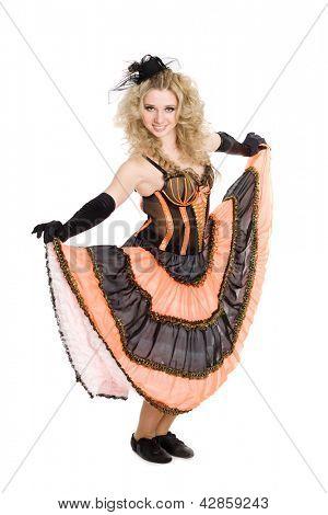 Young beautiful blonde girl dancing the cancan.