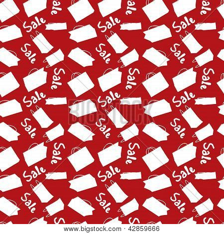 Red sale seamless background with shopping bags