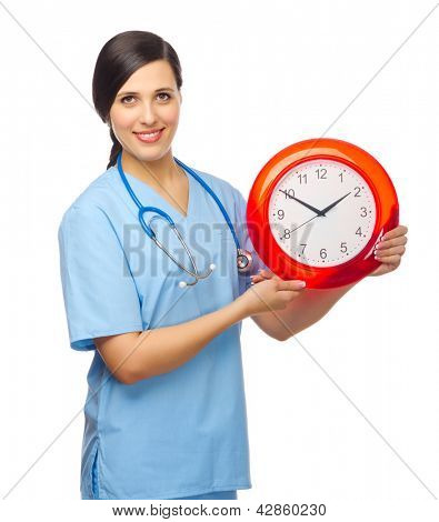 Smiling doctor with clock isolated