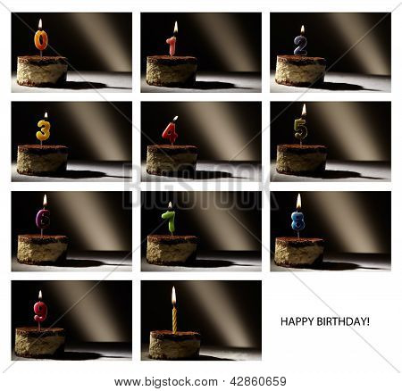 Collage of birthday candles.