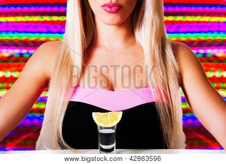 Beautiful Blonde In A Bar