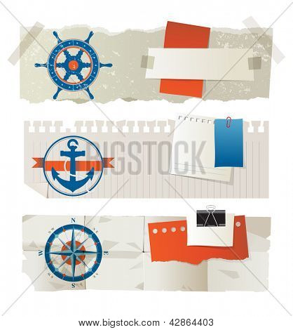 Stylized paper banners with nautical elements and place for your text