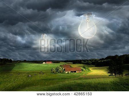 bulb in sky