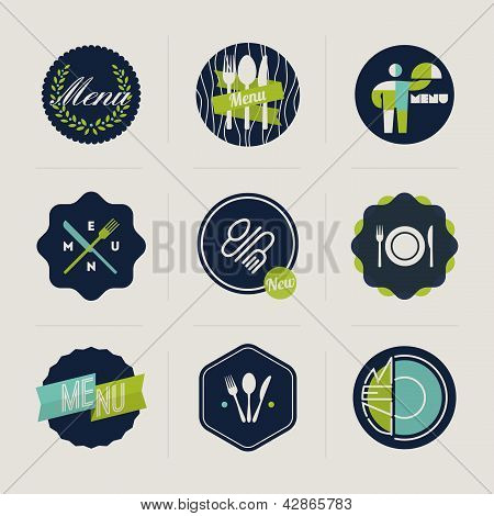 Restaurant Menu Labels - Set Of Vector Design Elements