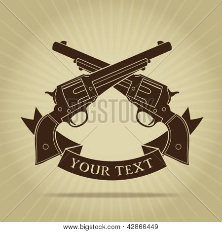 Vintage Crossed Pistols with Ribbon Silhouette
