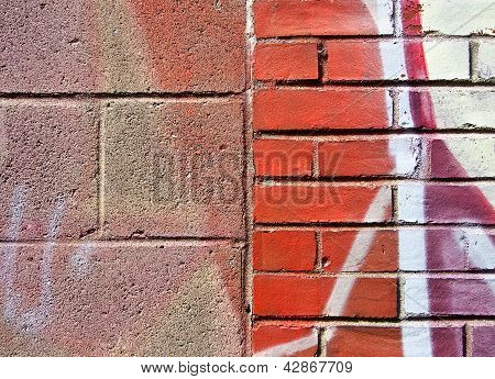 Cinder Block and Brick Wall with Graffiti