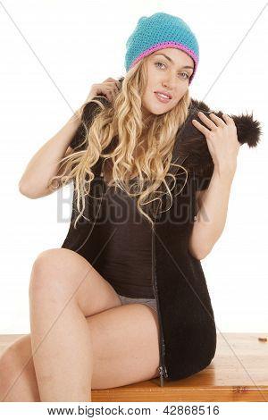Woman Hat Sit Looking