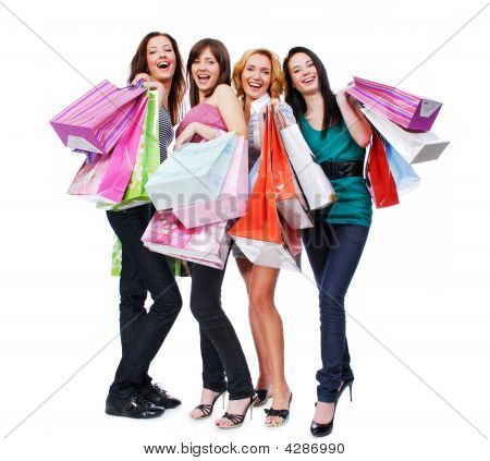 Group Young Adult People With Colored Bags