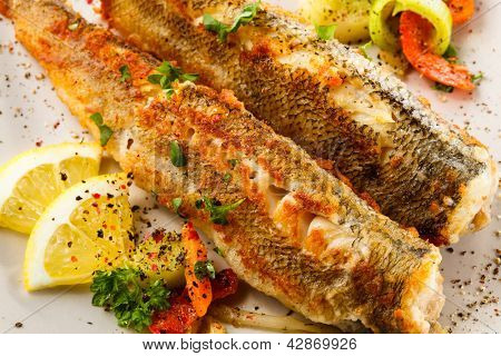 Fish dish - fried fish and vegetables