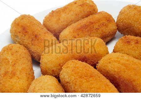 closeup of plate with spanish croquettes served as tapas