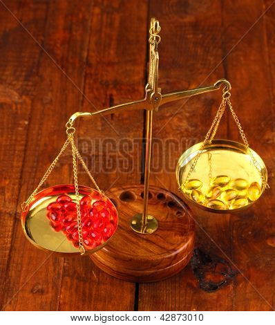 Classic scales with color pills on wooden background