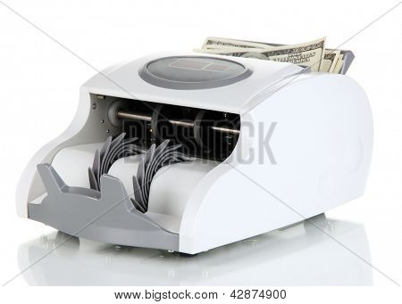 Machine for counting money isolated on white