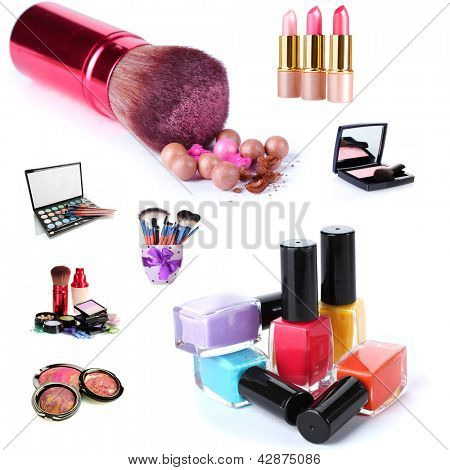 Collage of cosmetics for professional make-up isolated on white