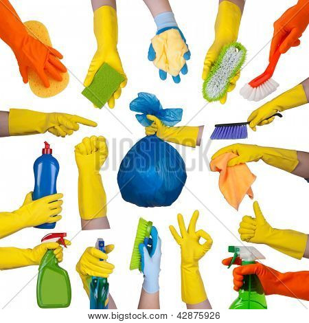 Hands in rubber gloves doing housework isolated on white background